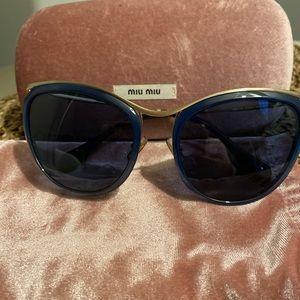 Miu Miu blue and gold cat eye sunglasses